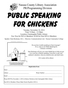 Public Speaking for Chickens Flyer.