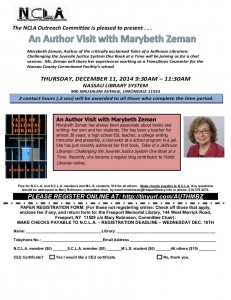 Flyer for author visit with Marybeth Zeman.