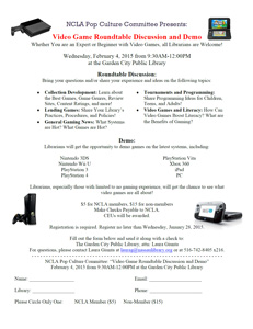 Flyer for Video Game Group Discussion and Demo.