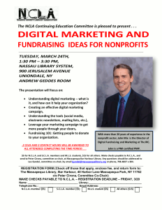 Digital marketing and fundraising for nonprofits event flyer.
