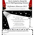 PR/Programming Division Performer's Showcase Event Flyer.