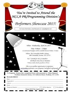 PR/Programming Division Performer's Showcase Event Flyer.