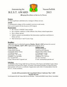 B.E.S.T Award Application.