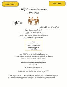 Event Flyer for High Tea at the Hidden Oak Cafe.
